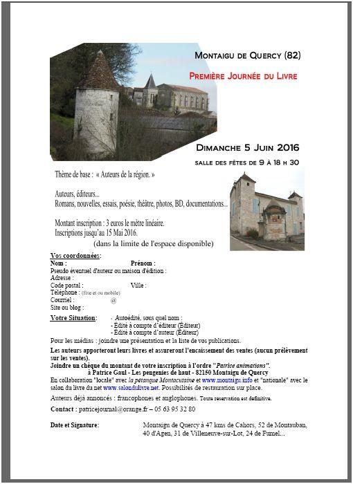 annonce journee du livre Montaigu de Quercy